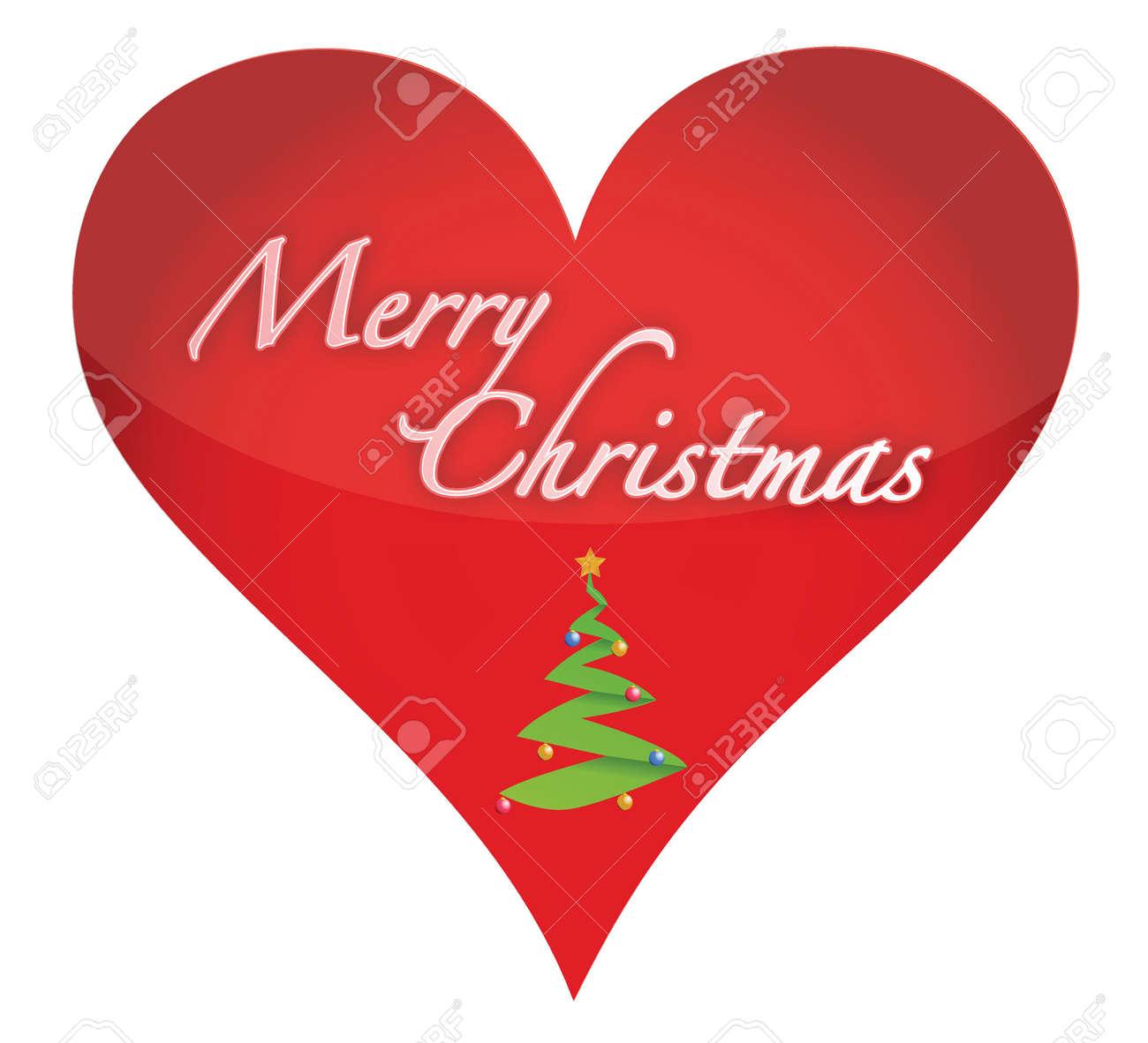 Merry Christmas Heart Illustration Design Over White Royalty Free ...