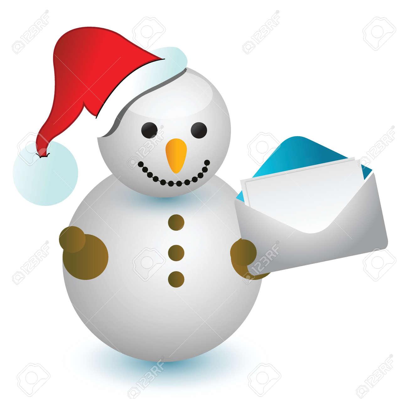 Snowman and envelope illustration design over white Stock Vector - 16259242