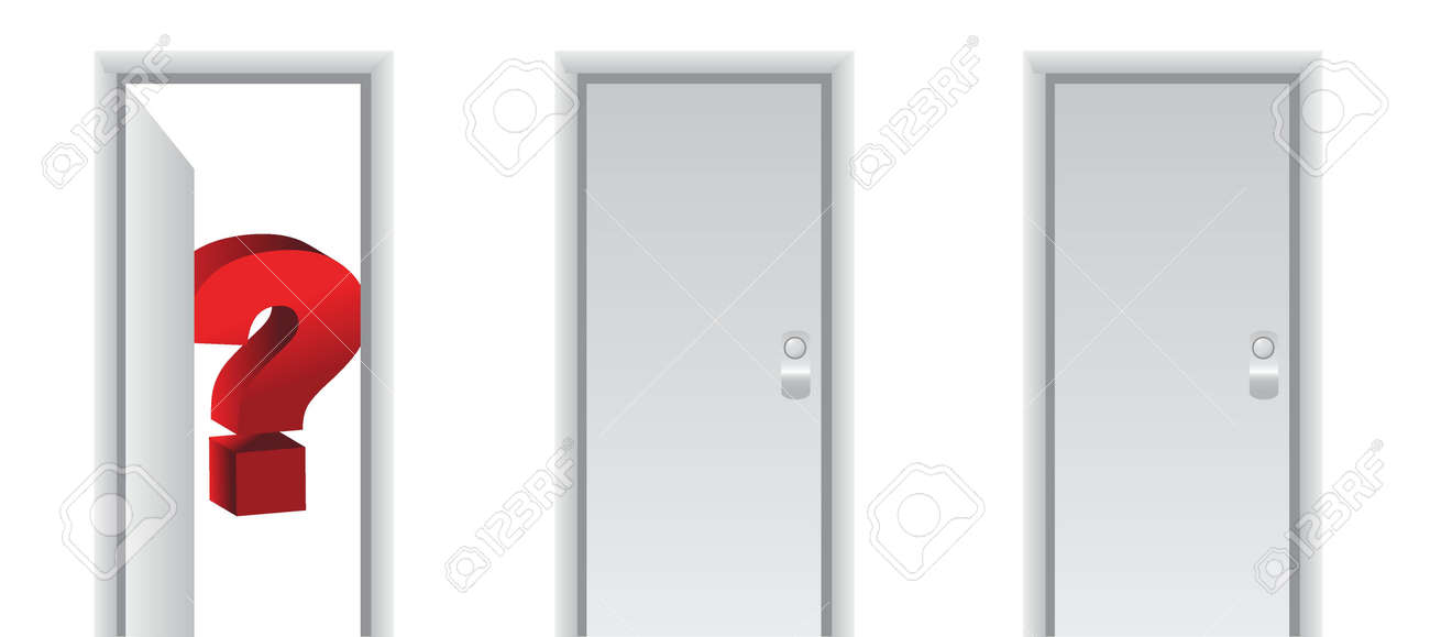 question mark behind a white door illustration design Stock Vector - 16259252