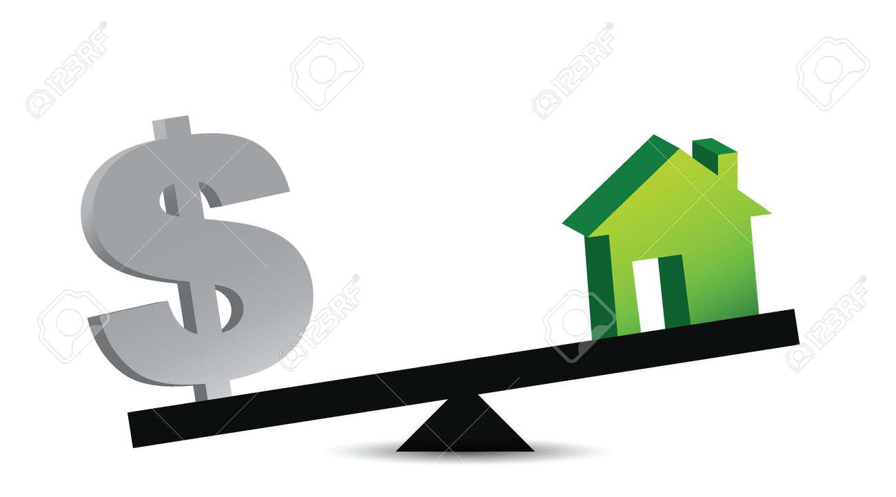 house and money balance illustration design over white Stock Vector - 16259272