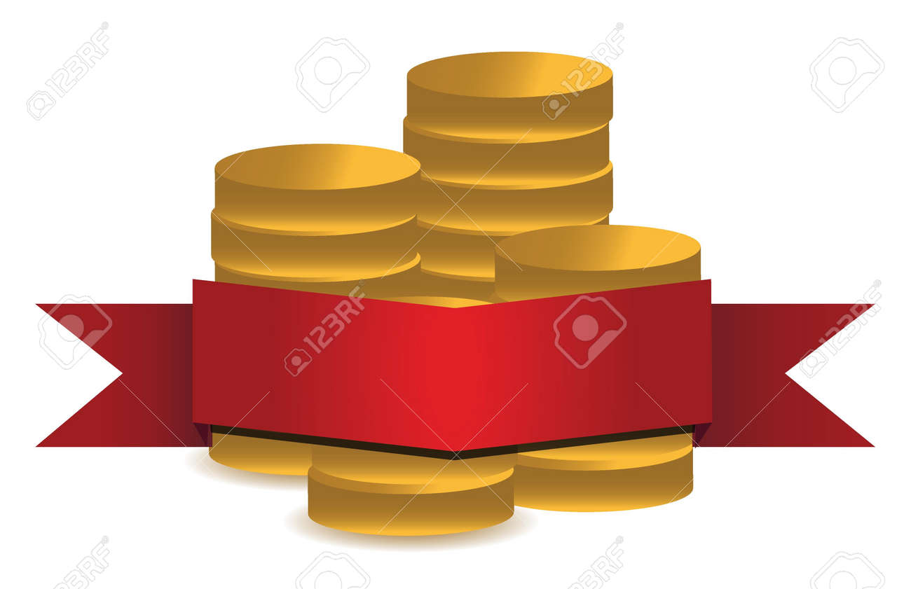 coins and red banner illustration design over white background Stock Vector - 16329645