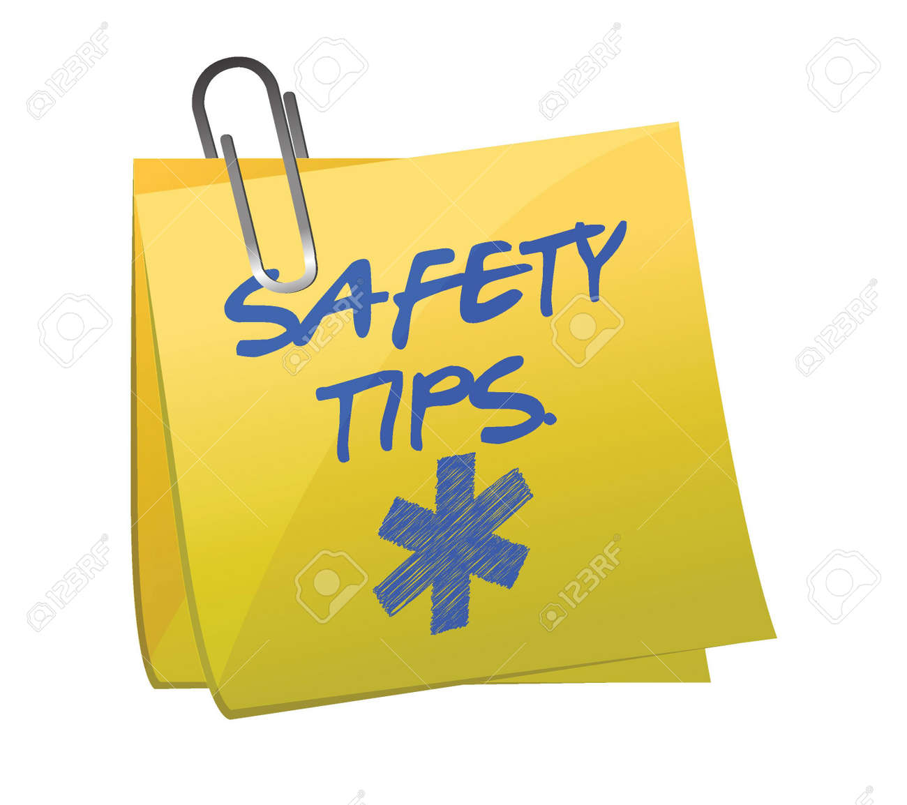 safety tips post it sign illustration design over white Stock Vector - 16329721
