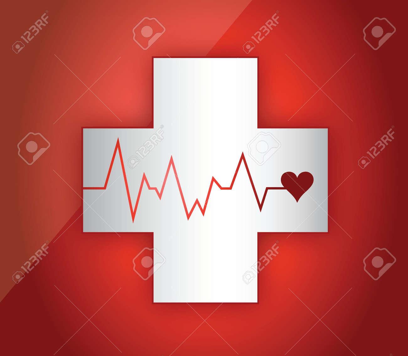 medical lifeline illustration design over a red background Stock Vector - 16375331