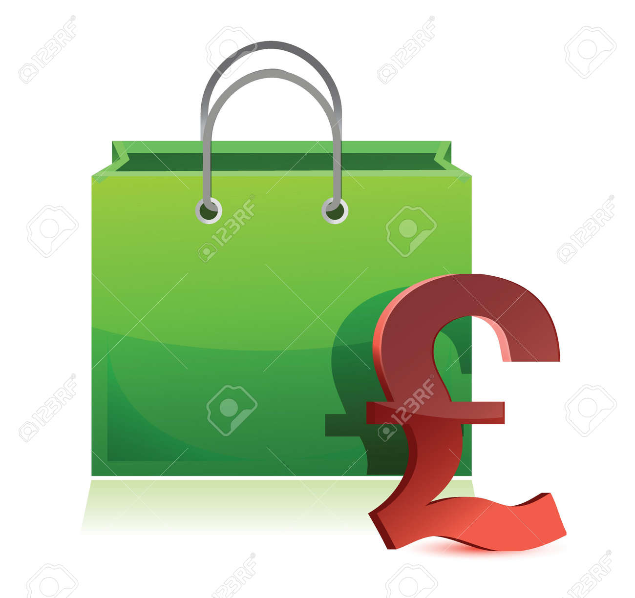 shopping bag and pound symbol illustration design over white Stock Vector - 16375072
