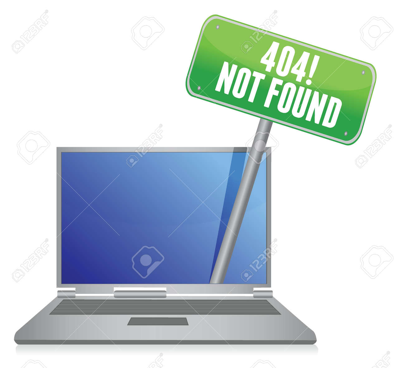 laptop with a 404 error message illustration design over white Stock Vector - 16437837