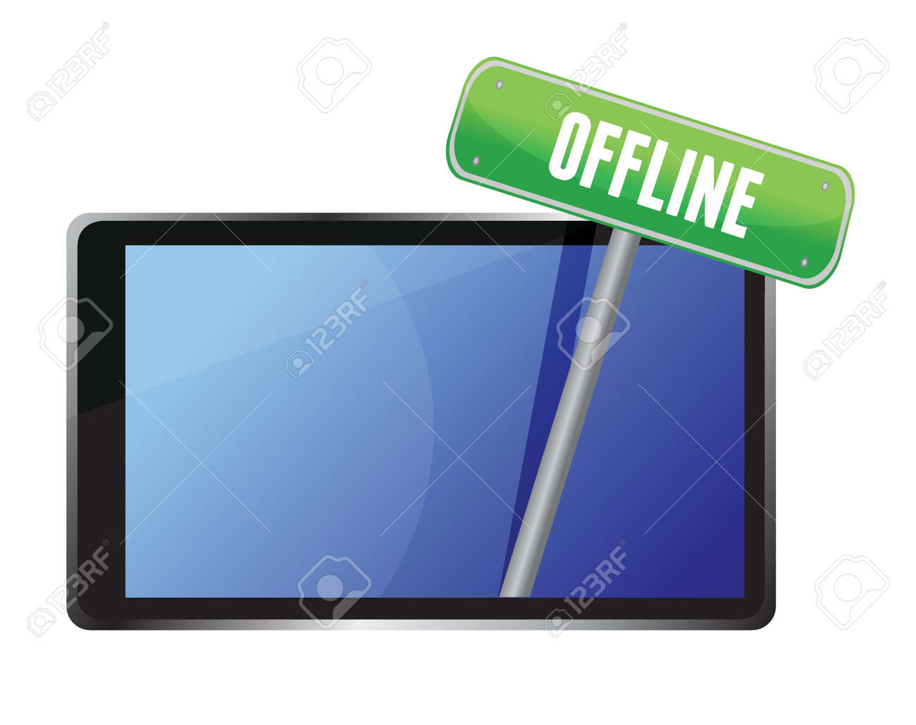 tablet with offline message illustration design over white Stock Vector - 16437773