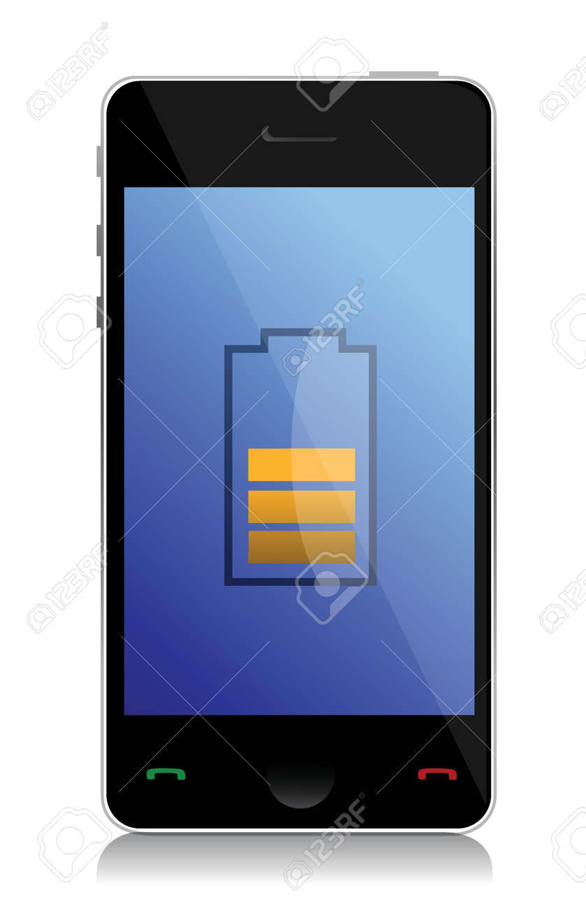 phone with half of the battery illustration design over white Stock Vector - 16493566