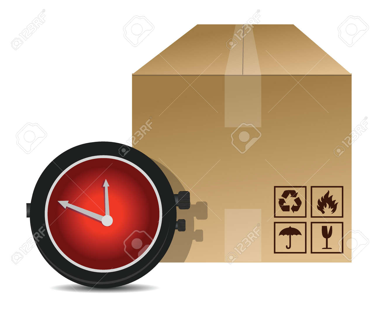 watch and box shipping illustration design over a white background Stock Vector - 16512791
