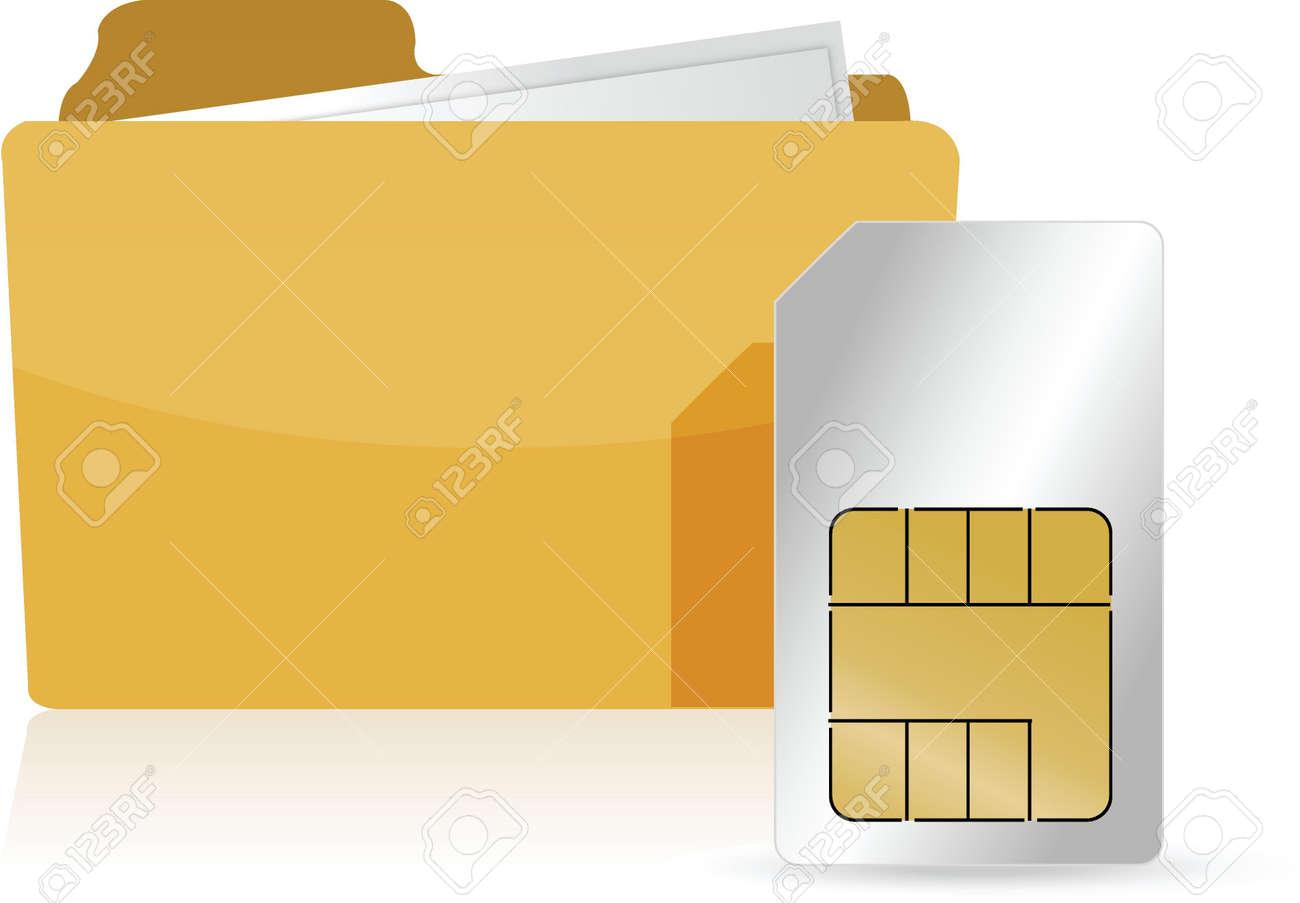 folder and sim card illustration design over white Stock Vector - 16583176