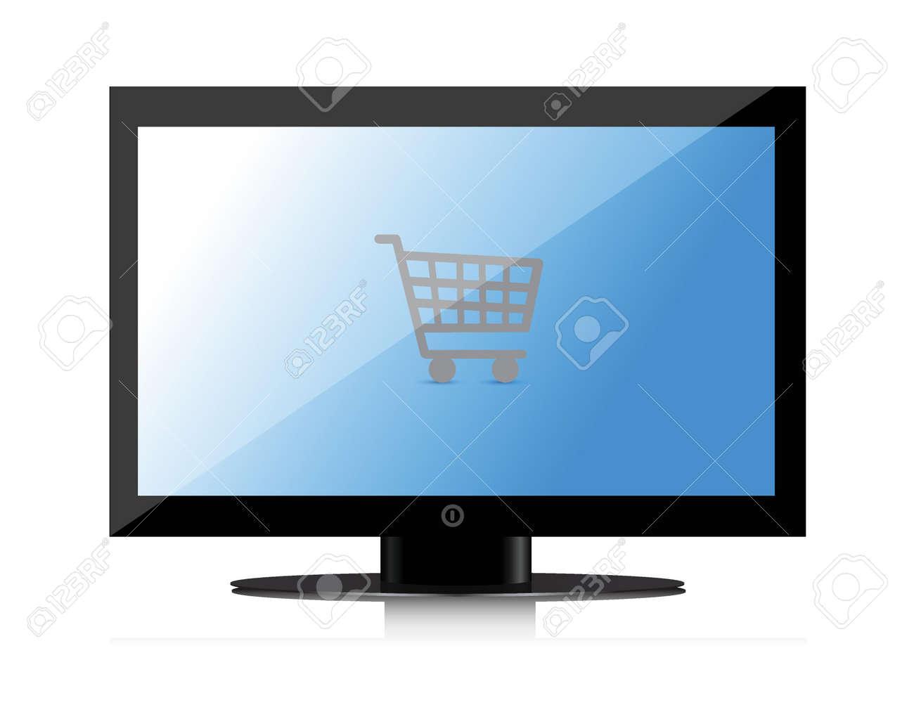 shopping online monitor illustration design over white Stock Vector - 16600922