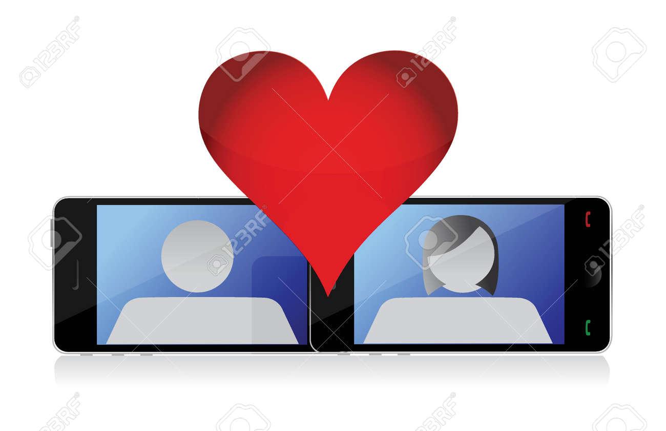 mobile phone love illustration design over a white background Stock Vector - 16600921