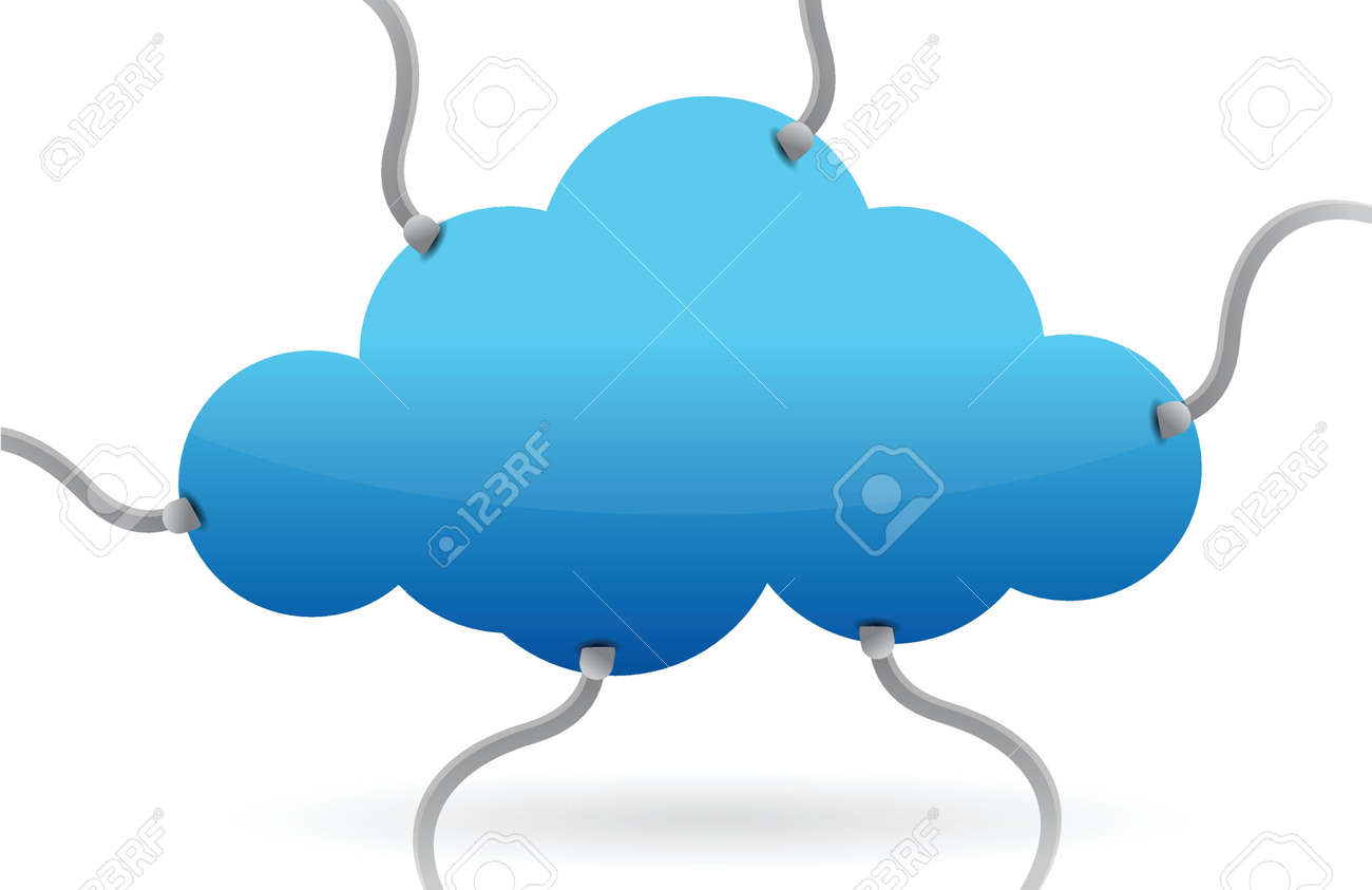 cloud computing various connections illustration design over white Stock Vector - 16617169