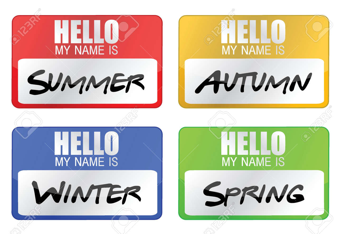 clime seasons name tags illustration design over white