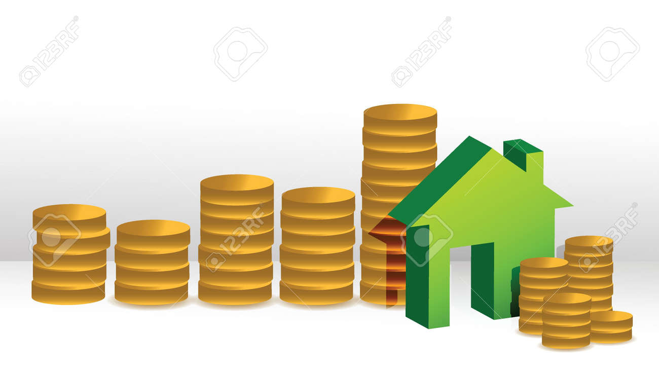 house coin graph illustration design over a white background design Stock Vector - 16692115