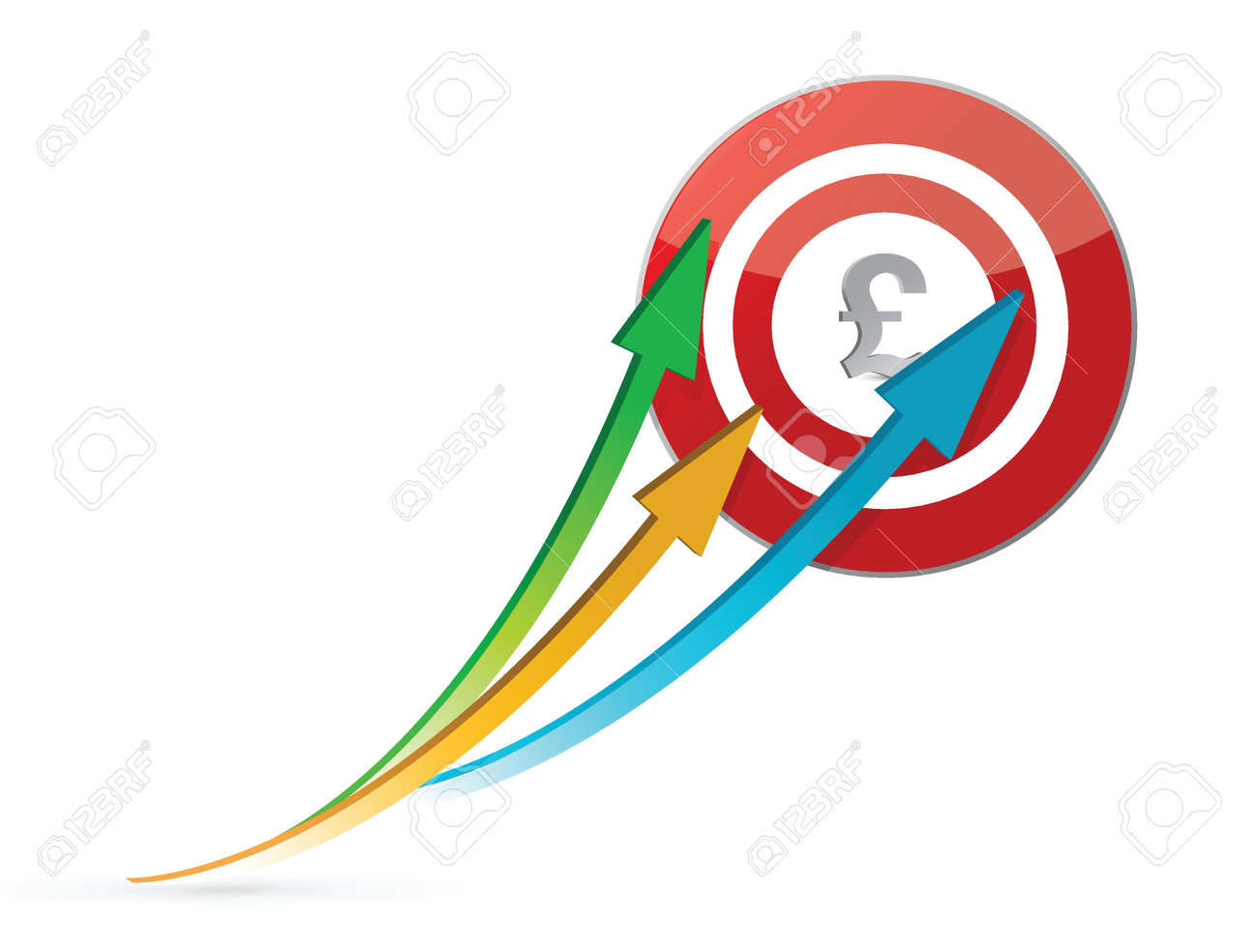 pound arrows pointing target illustration design over white Stock Vector - 16846204