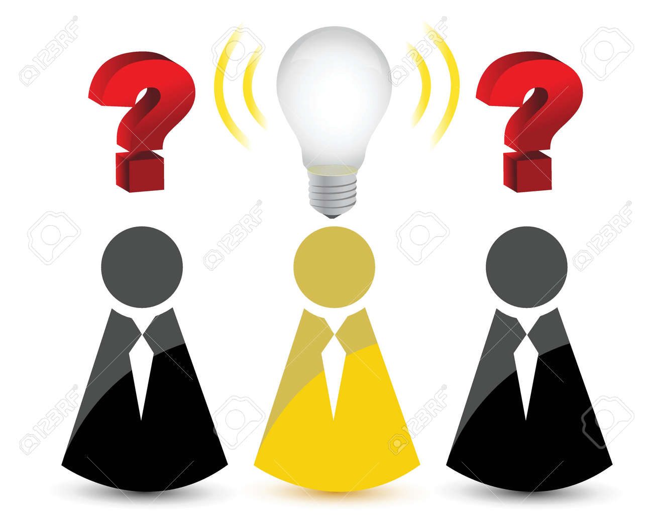 question marks and a light bulb idea illustration design over white Stock Vector - 16960315