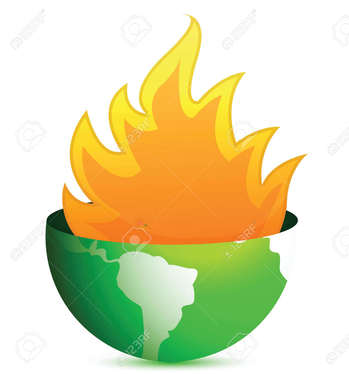globe with fire flames illustration design over white Stock Vector - 17013811