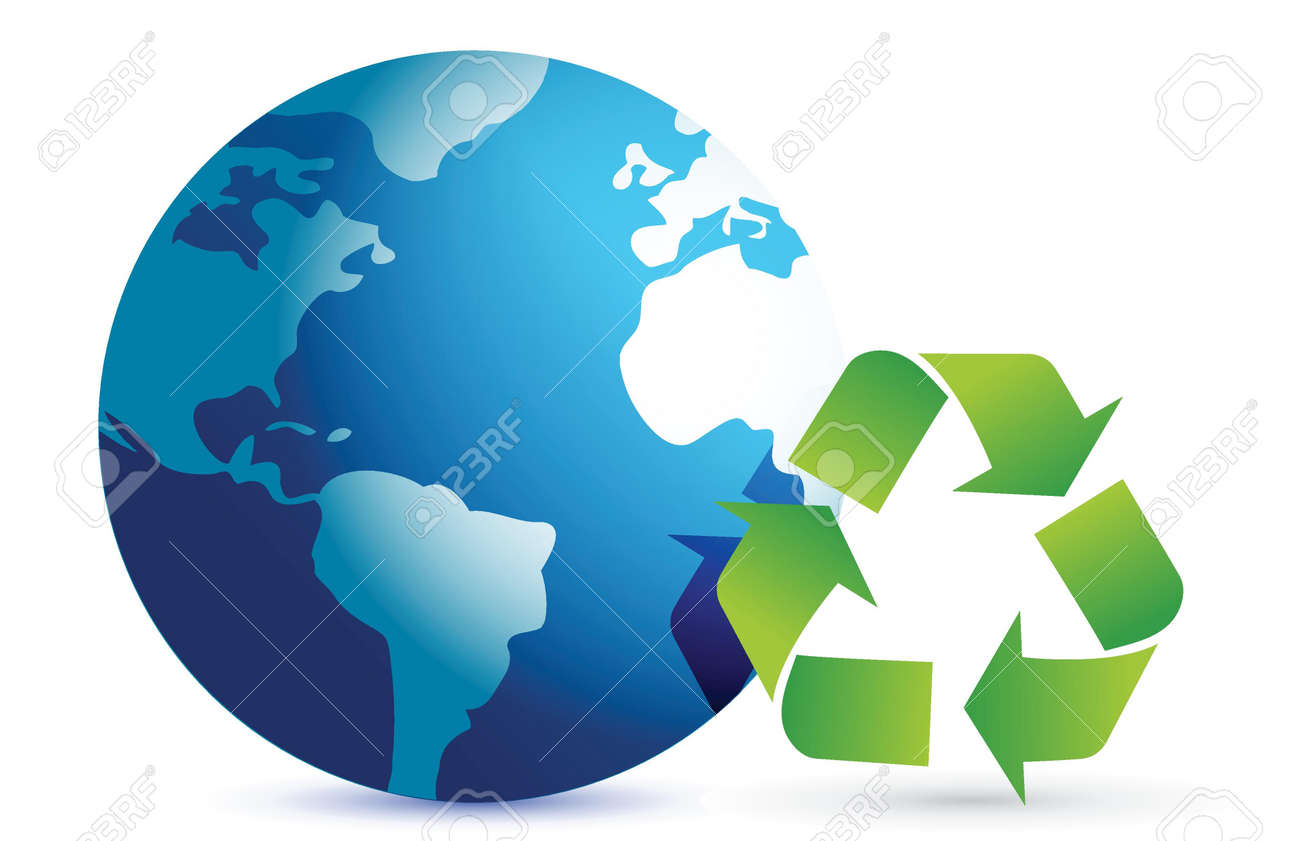 recycling symbol with an earth globe illustration design over white Stock Vector - 17013826