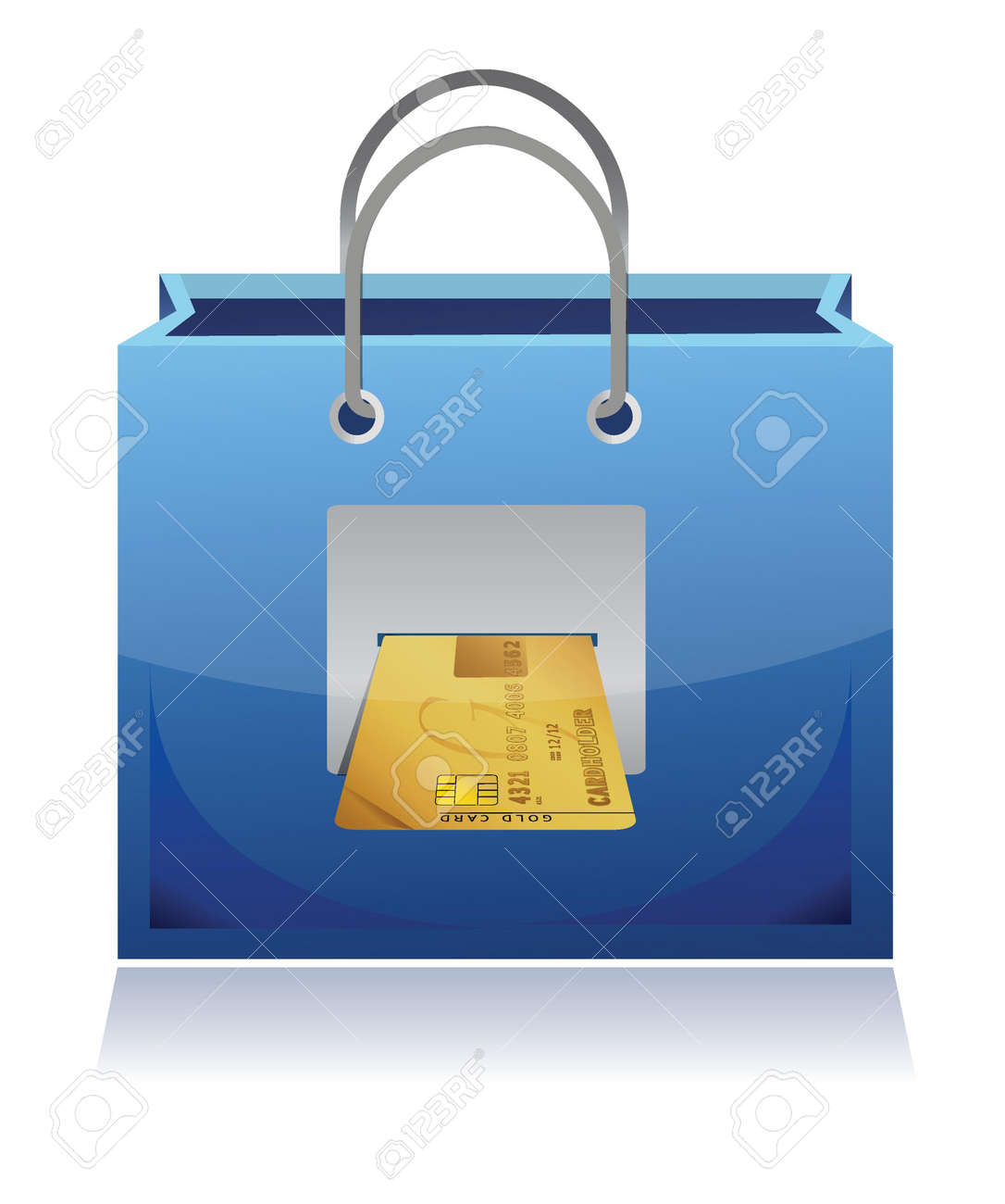credit card and shopping bag illustration design over white Stock Vector - 17032319