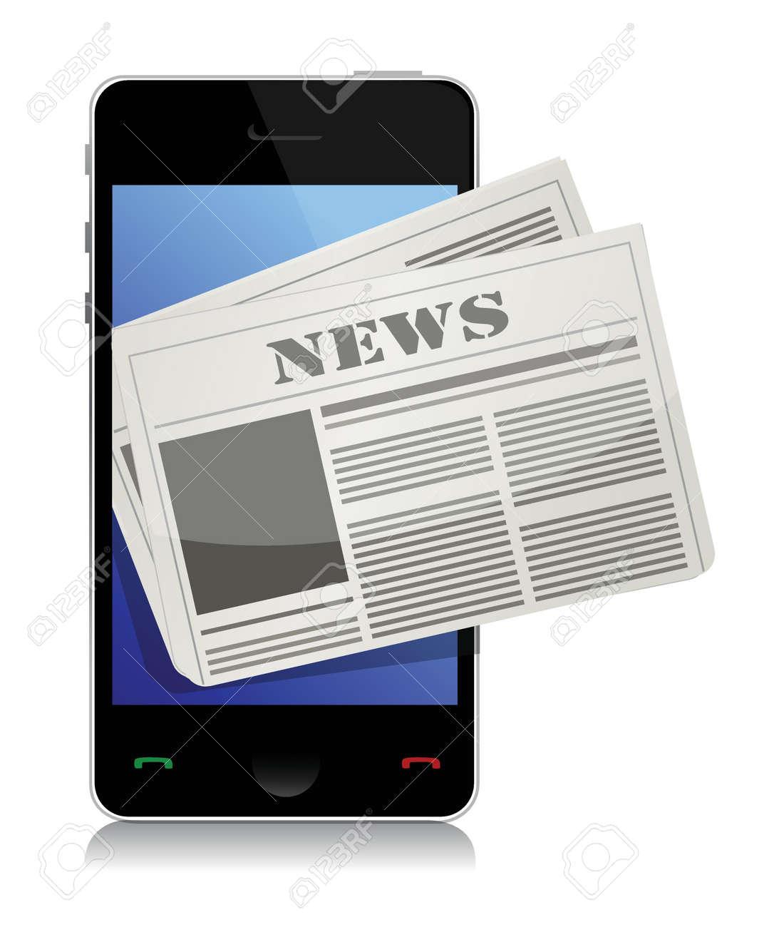 Mobile news concept illustration design over a white background Stock Vector - 17058027