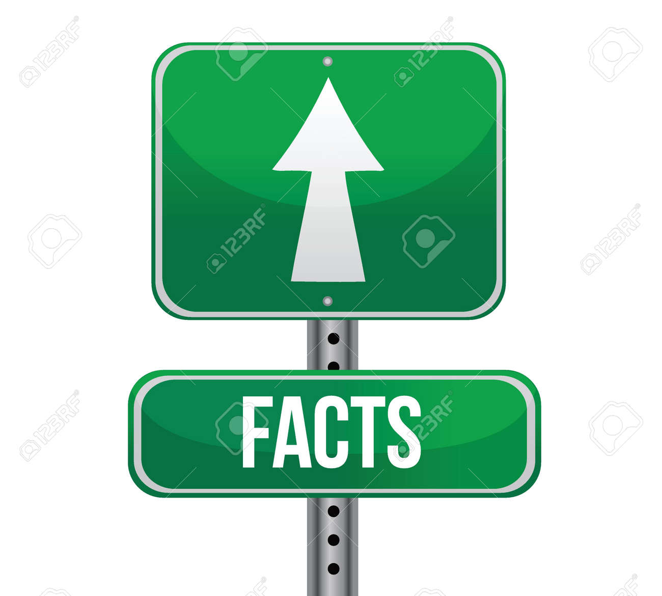 Facts, Just Ahead Green Road Sign illustration design over white Stock Vector - 17058025