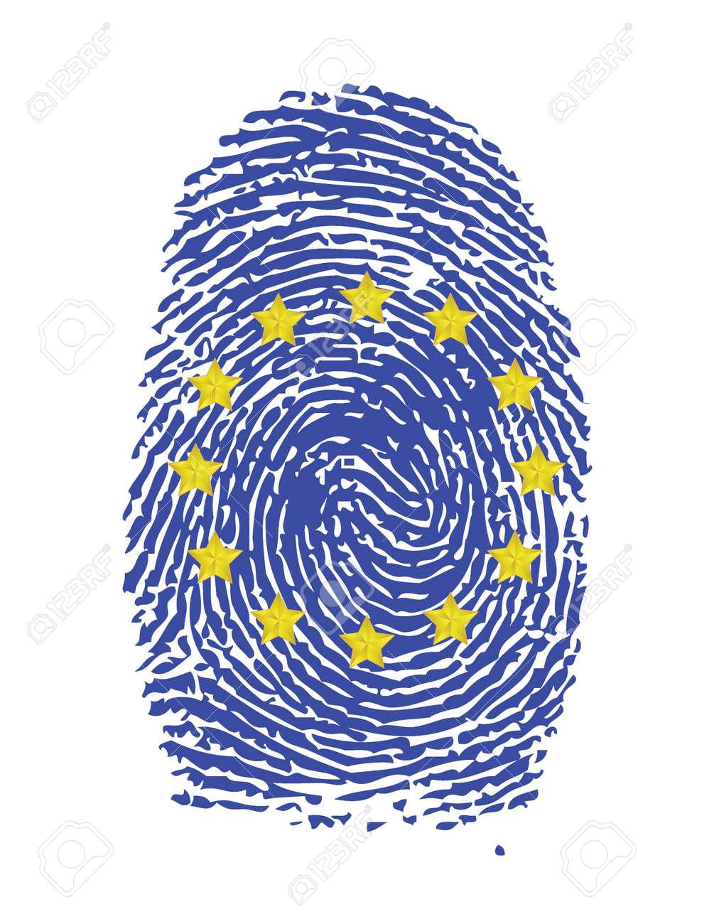 Fingerprint Stamp On White Paper For European Flag Illustration Stock Vector