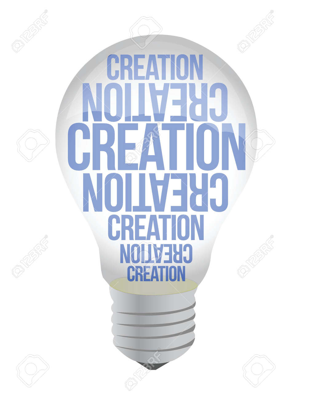 Light Bulb With Creation Text illustration design over white Stock Vector - 17183106
