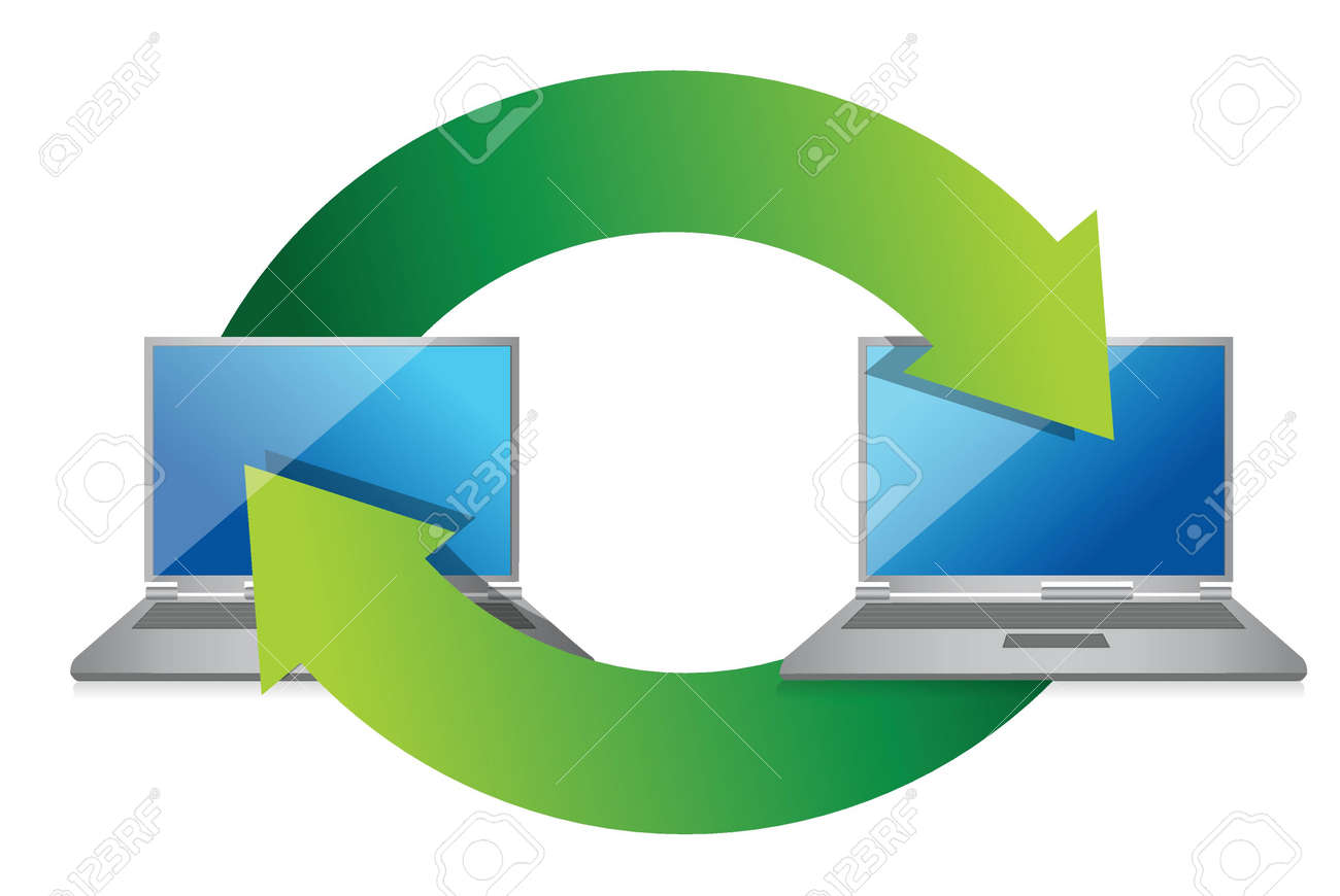 Laptop exchange illustration design on white background Stock Vector - 17250094