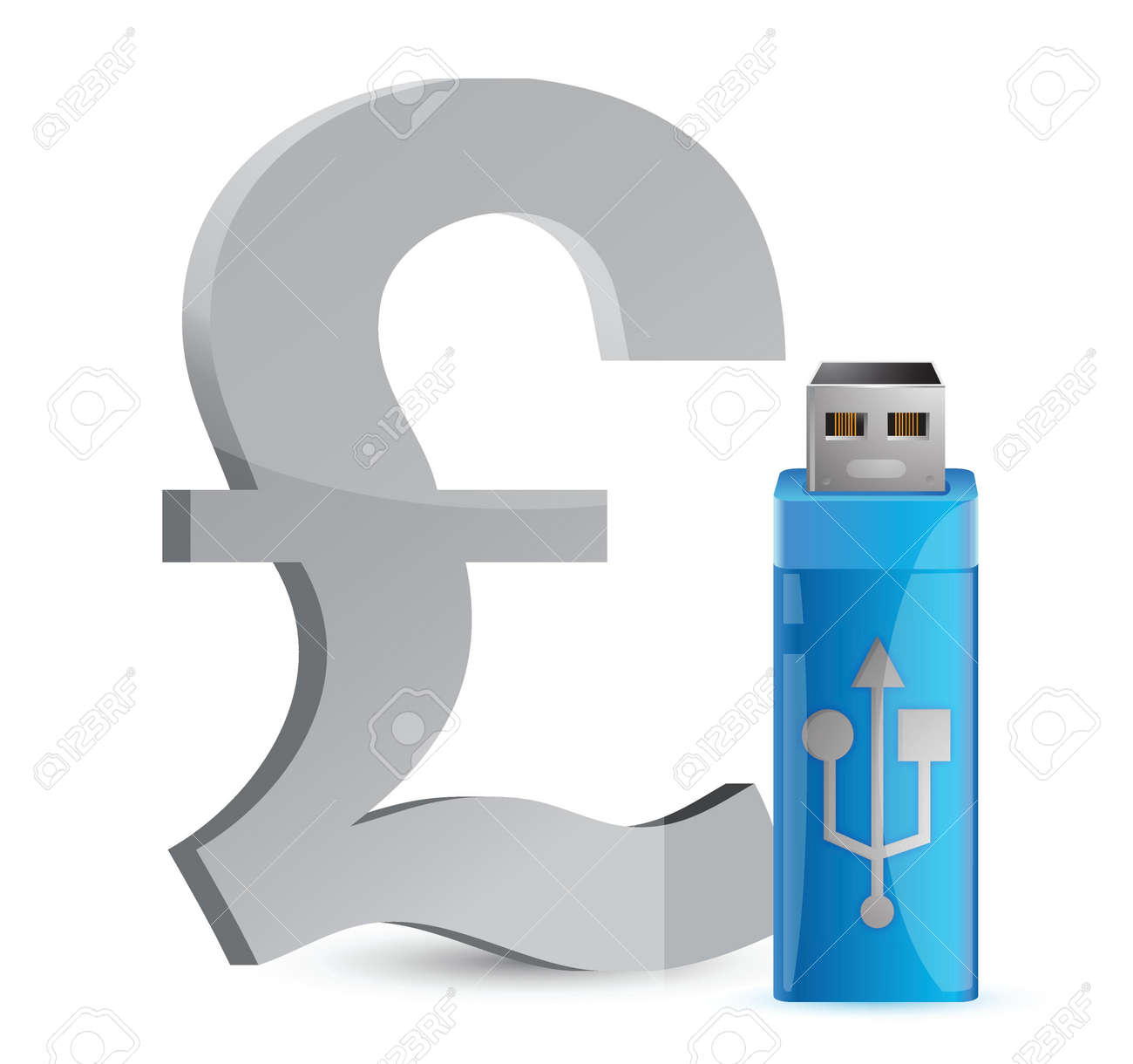 currency sign USB memory stick illustration graphic design Stock Vector - 17250264