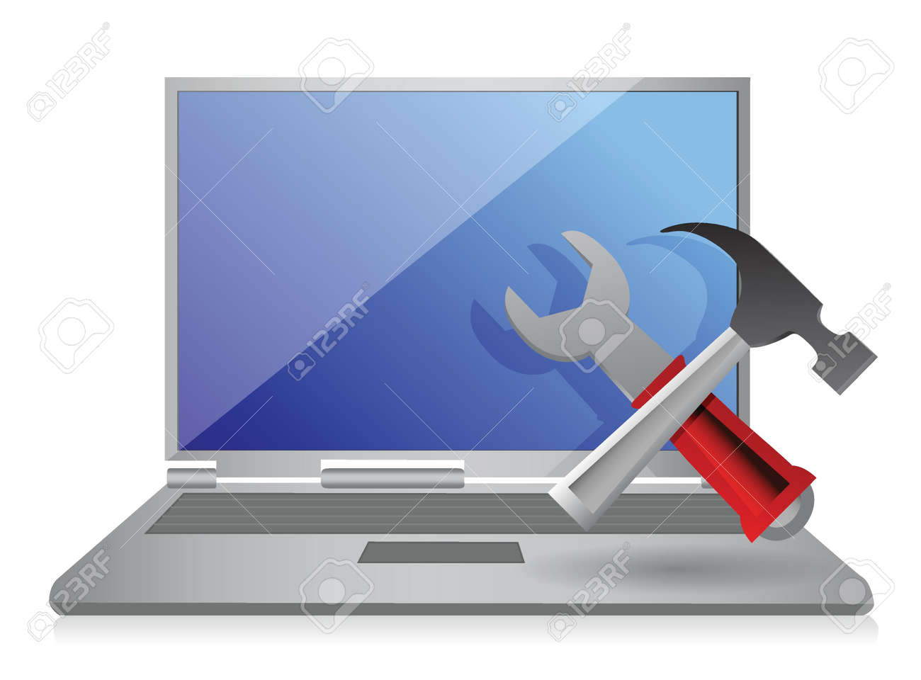 Laptop with hammer and wrench. illustration design Stock Vector - 17250159