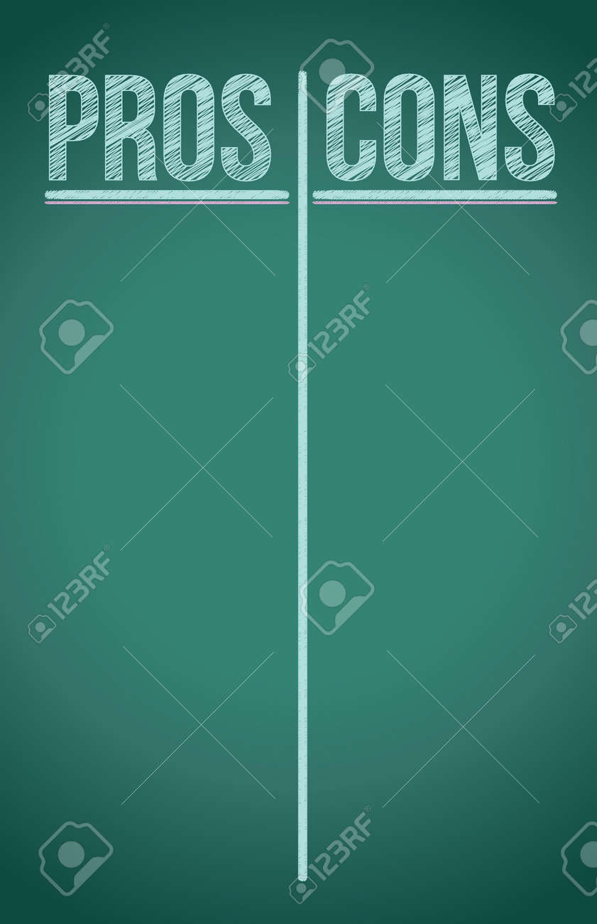 Pros And Cons List Written In White Chalk Illustration Design