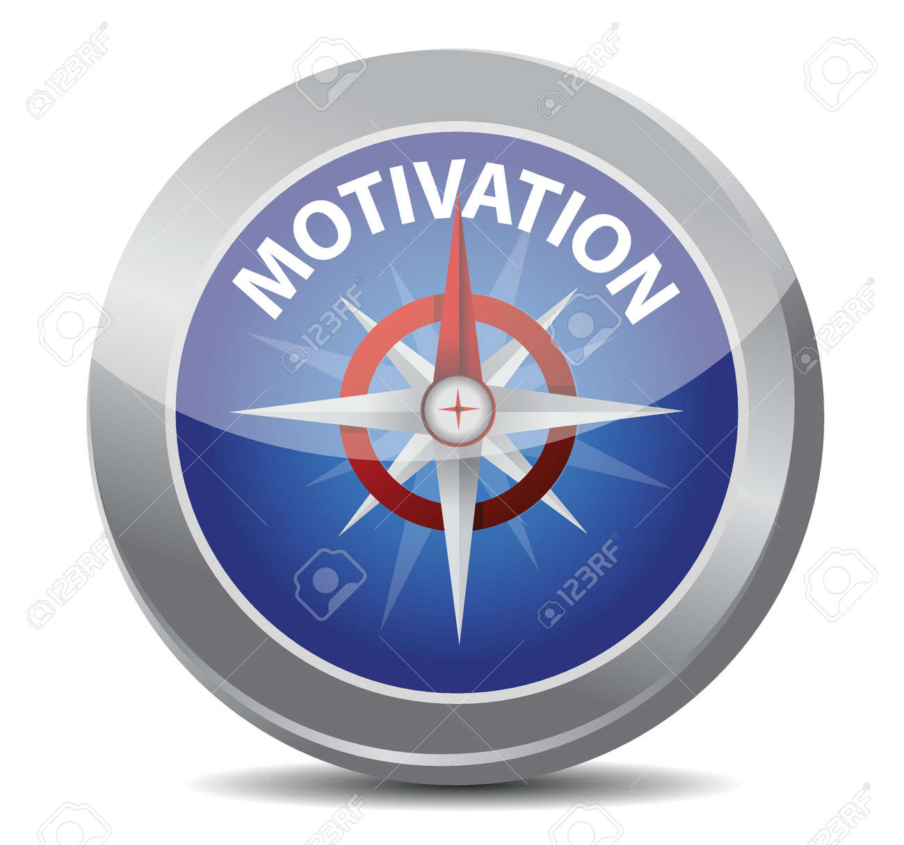 motivation red word indicated by compass illustration design over white Stock Vector - 17539551