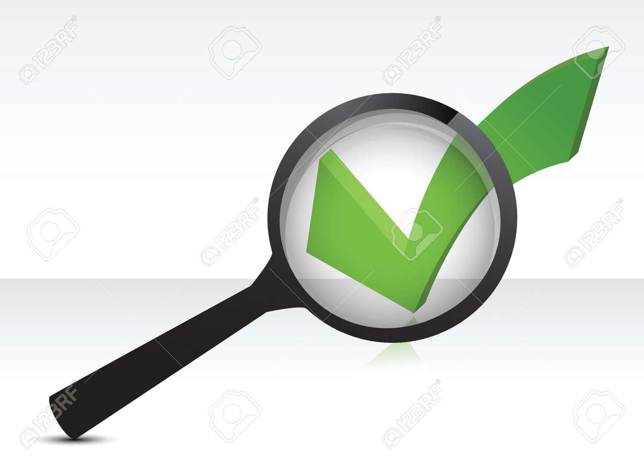 green checkmark and magnifying glass illustration design over white Stock Vector - 17539670