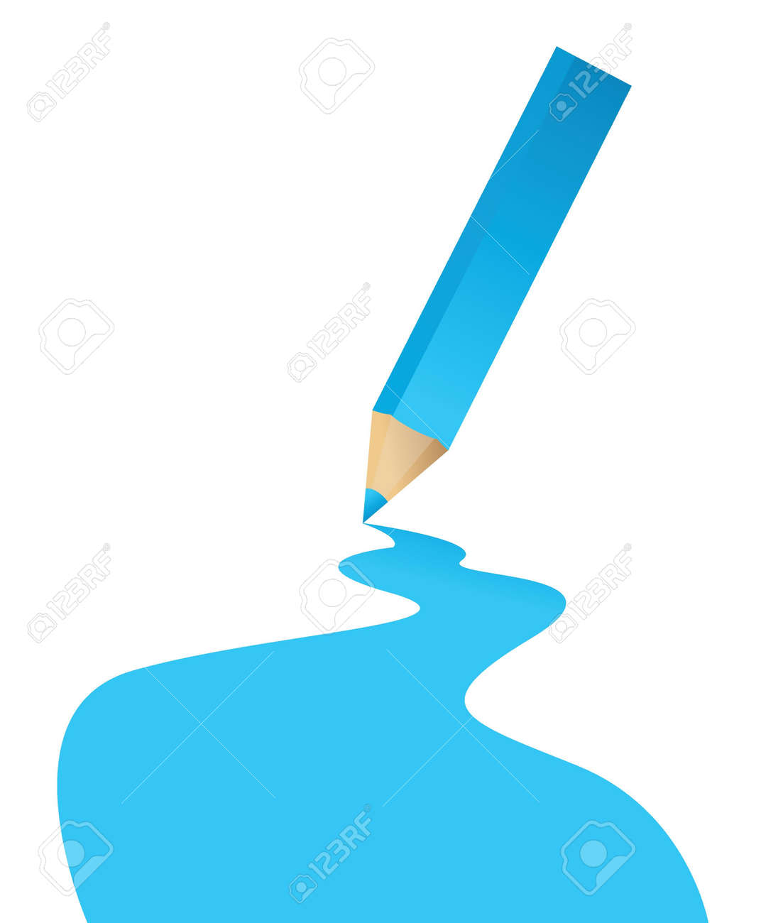 blue pencil and color line illustration design over a white background Stock Vector - 17539460