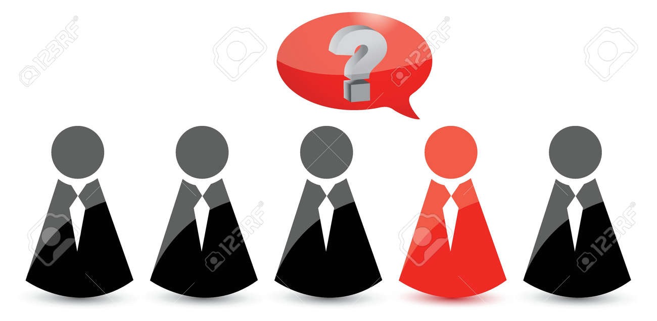 icons people in ties and one question. Illustration design over white Stock Vector - 17539456