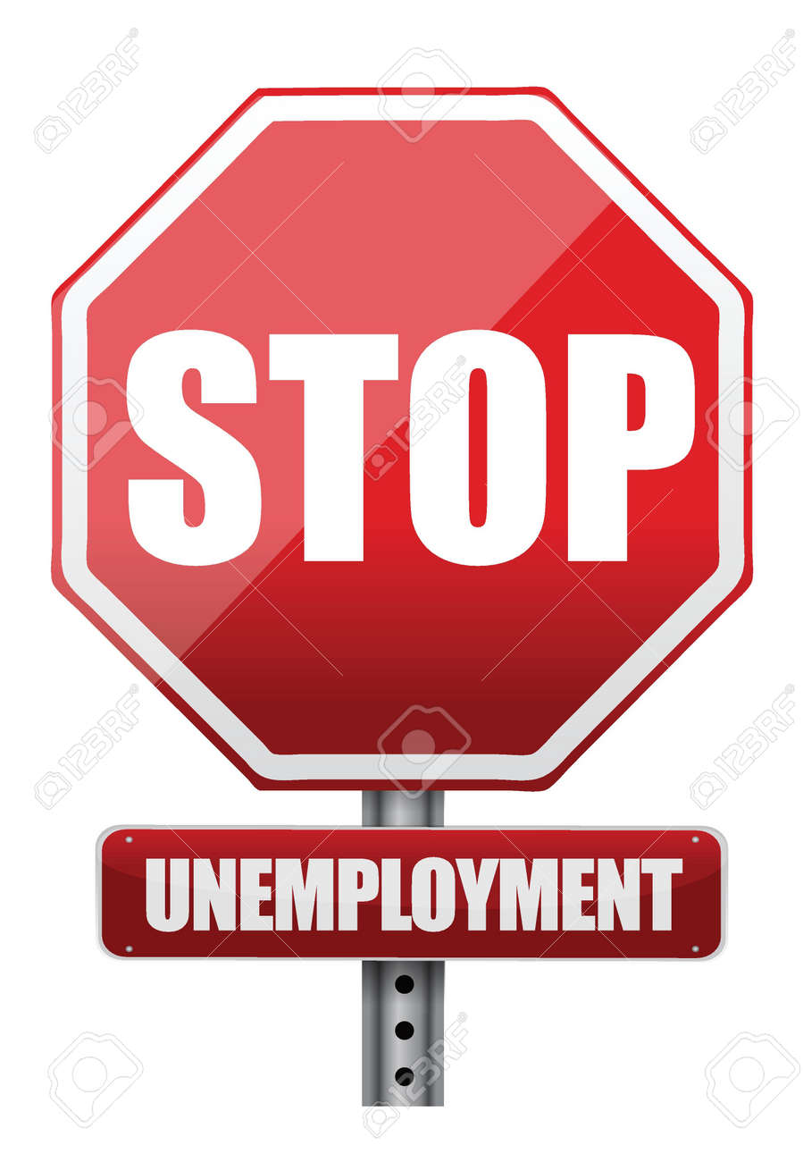 Traffic sign stop unemployment illustration design over white Stock Vector - 17539466