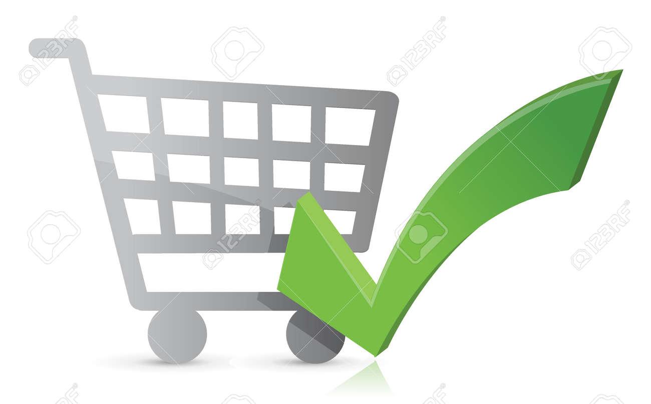Shopping cart with a green check mark. Illustration design Stock Vector - 17539447
