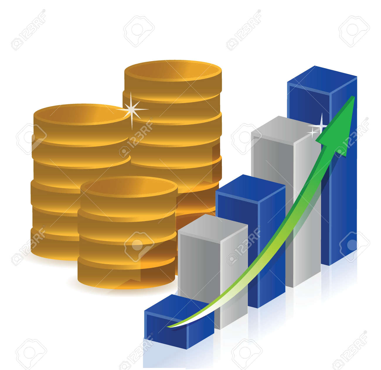 coins business graph illustration design over a white background Stock Vector - 17539615