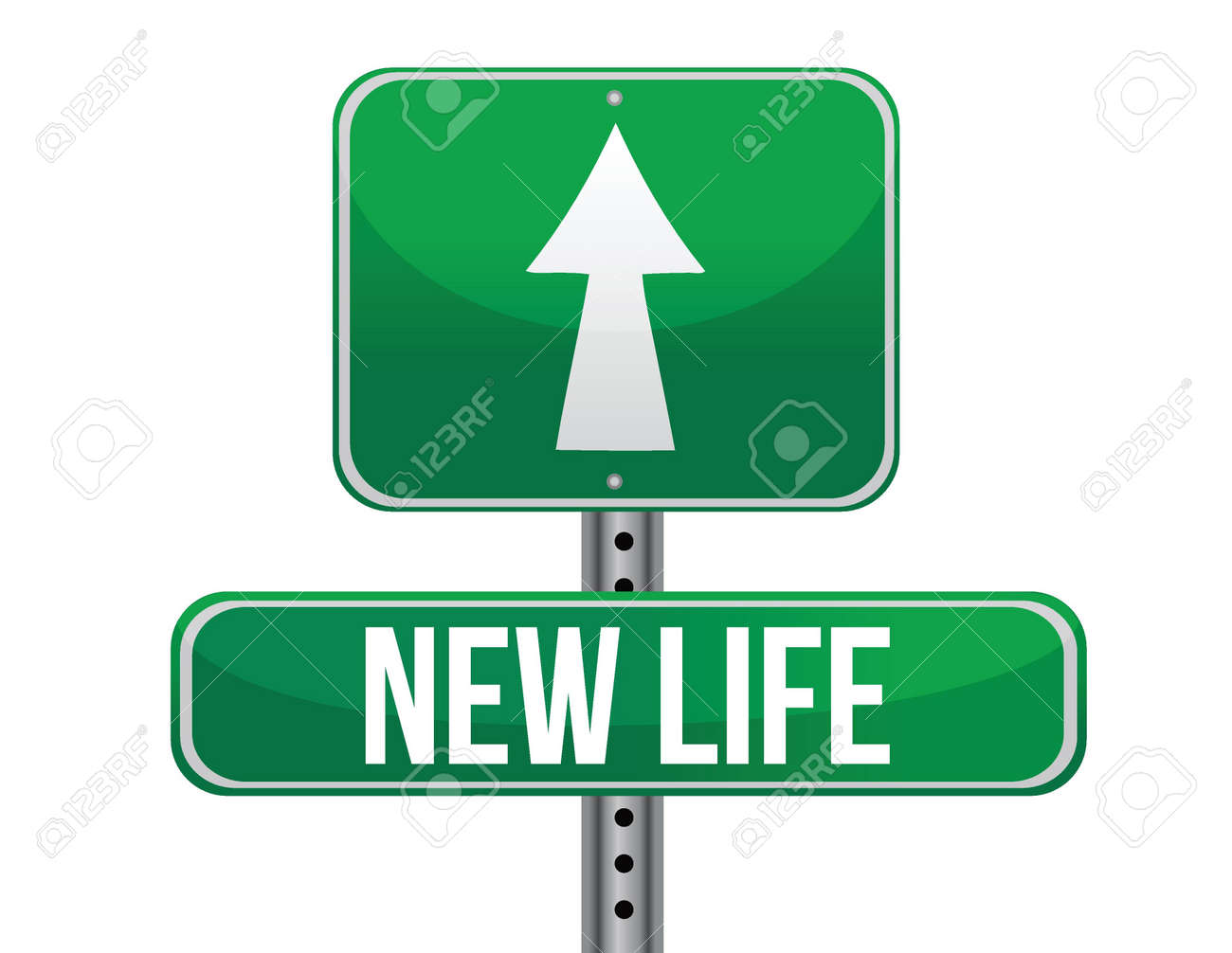 start new life road sign illustration design over white Stock Vector - 17539980