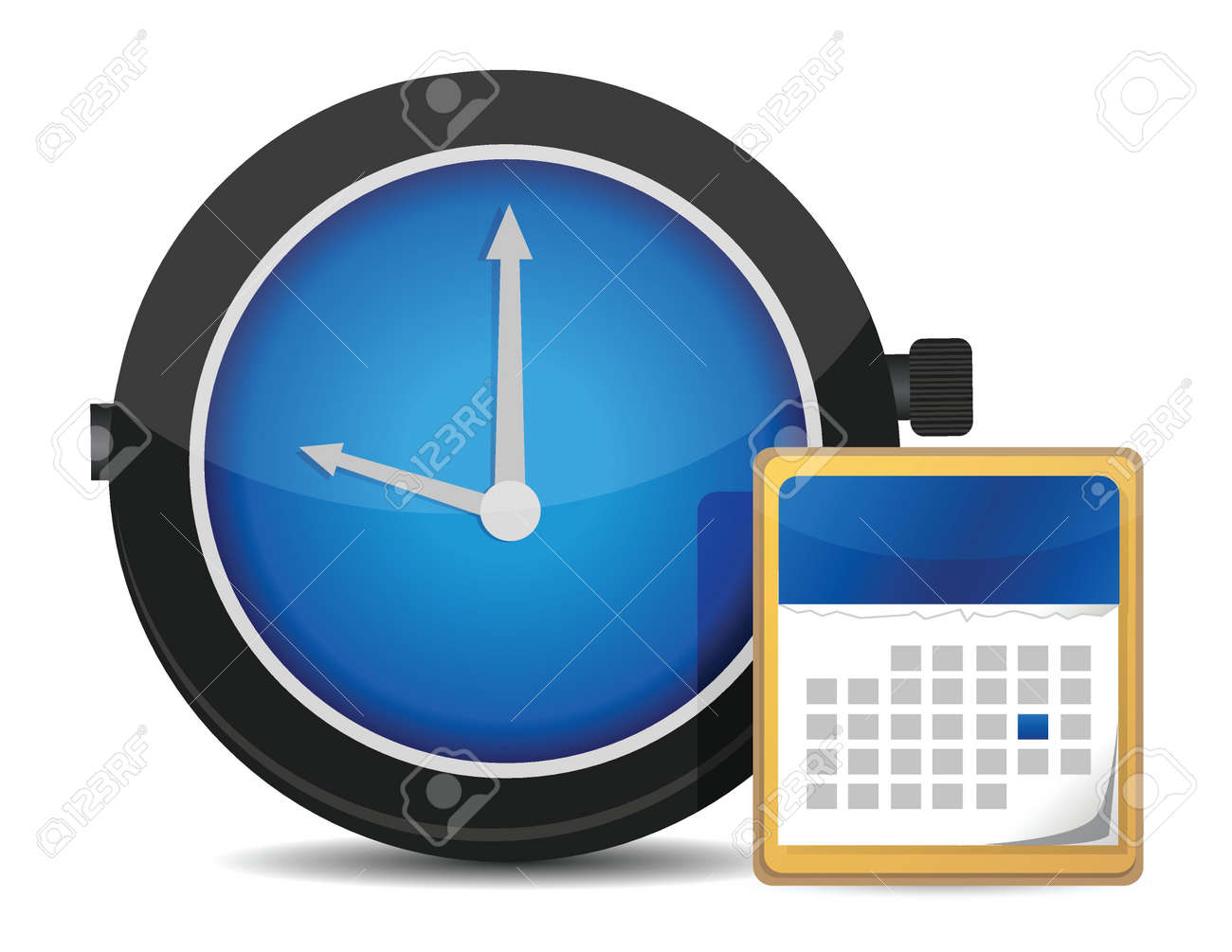 office clock and calendar illustration design over white Stock Vector - 17539996