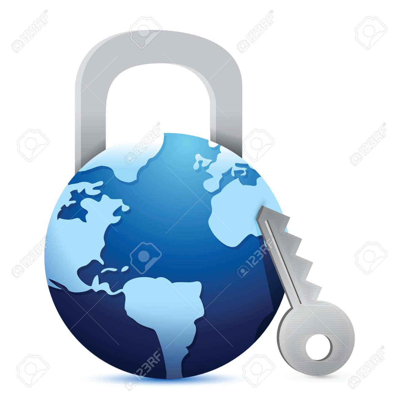 open globe 'lock' illustration design over a white background Stock Vector - 17594656