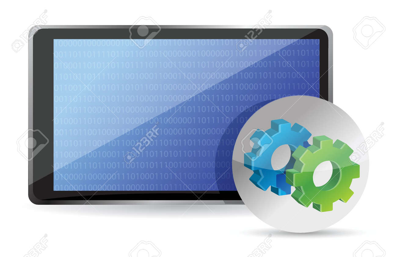 one tablet pc with gears, processing concept illustration design Stock Vector - 17695276