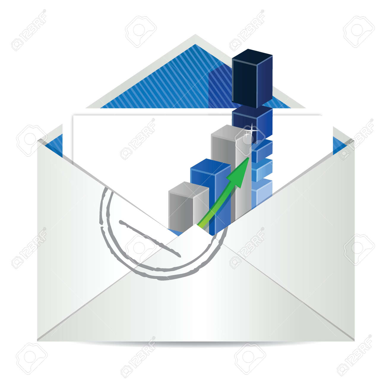 Envelope and business graph illustration design over white Stock Vector - 17727229