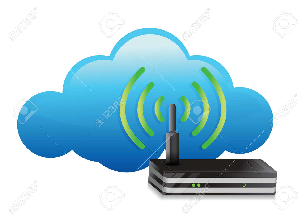 one cloud with a modem router illustration design over white Stock Vector - 17727203