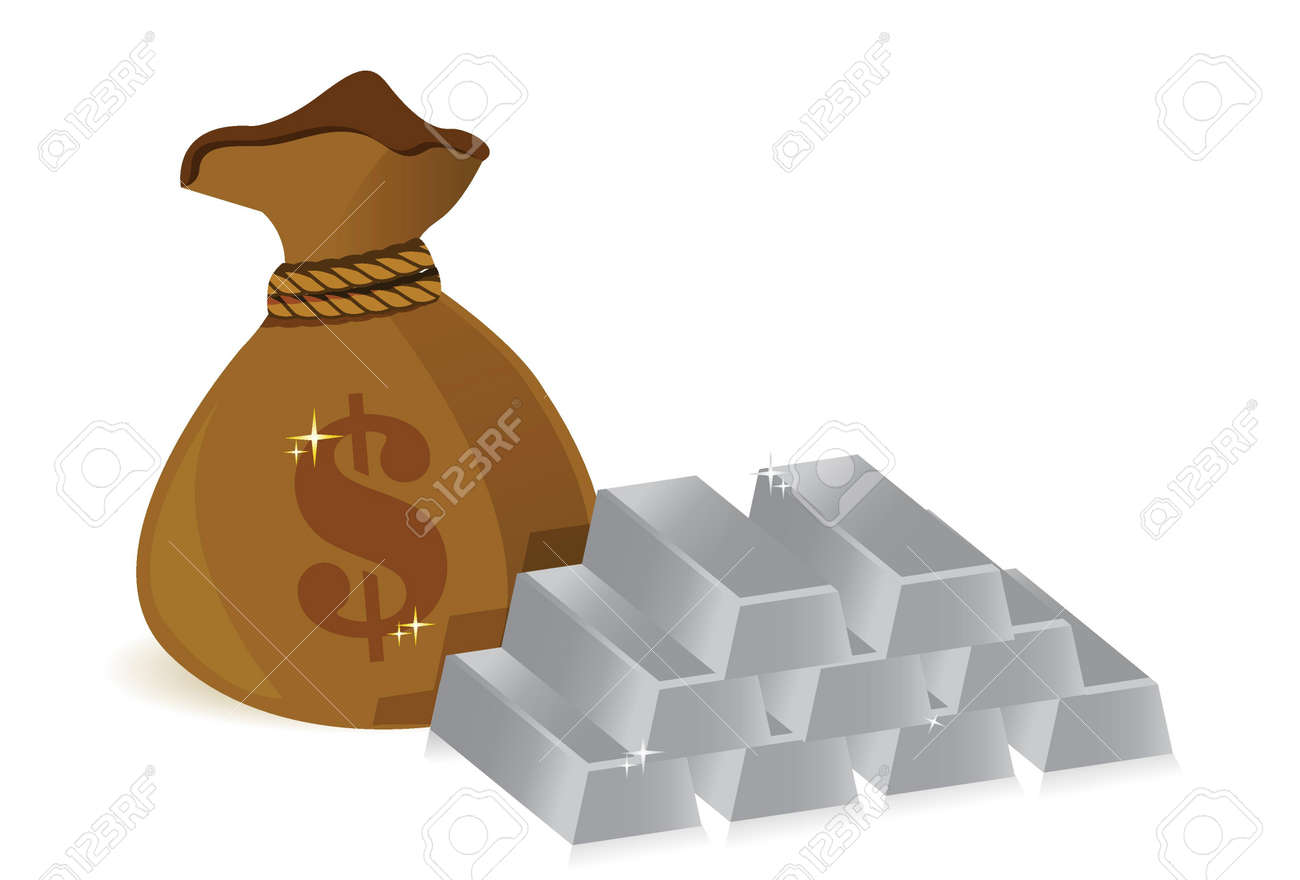 money bags and silver bars illustration design over white Stock Vector - 17823341