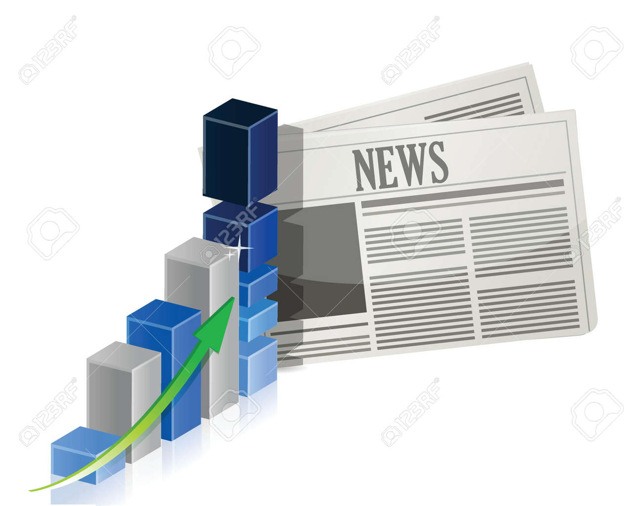Business news with bar graph illustration design over white Stock Vector - 17823430