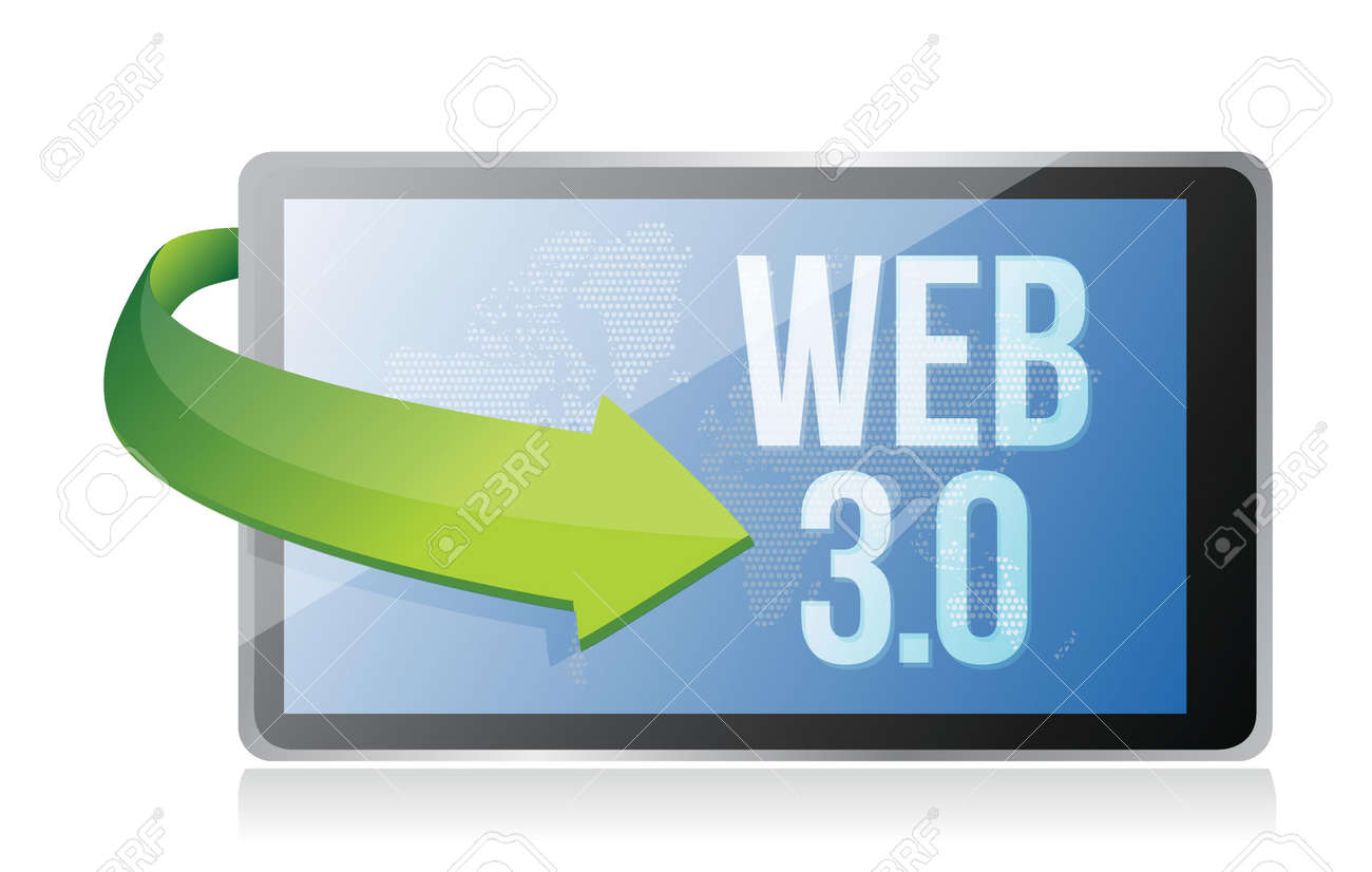 word Web 3.0 on a tablet, seo concept illustration design Stock Vector - 17824168