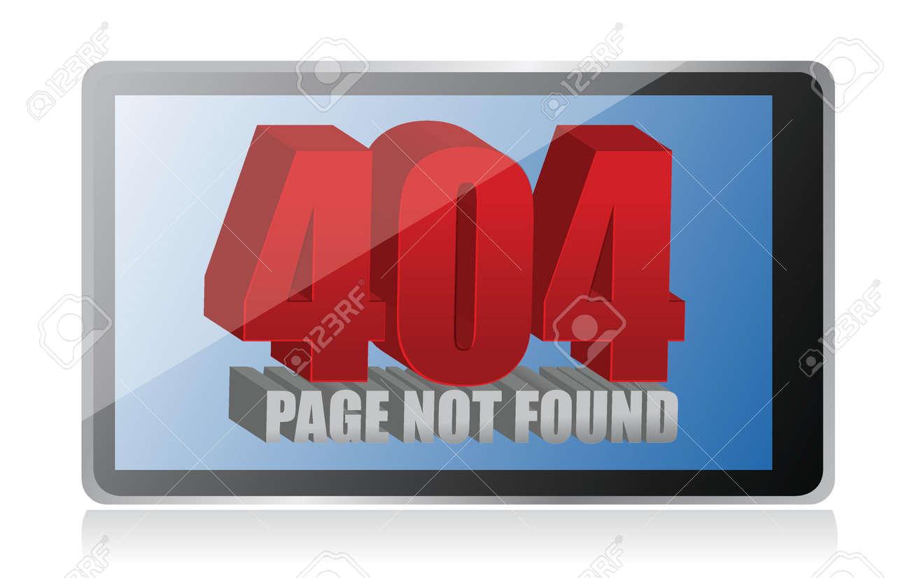 404 error on a tablet illustration design over a white background Stock Vector - 17869269