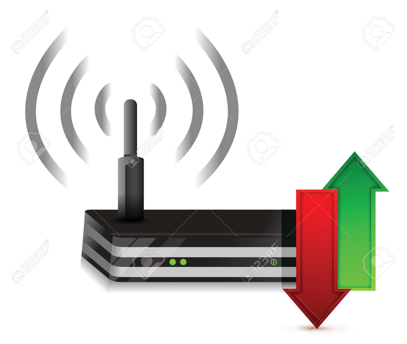 up and down arrows Wireless Router Isolated on White Stock Vector - 17869315