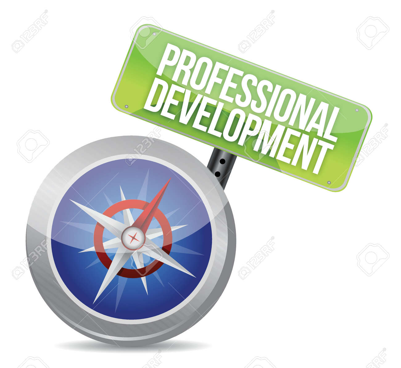 professional development Glossy Compass illustration design over a white background Stock Vector - 17872275